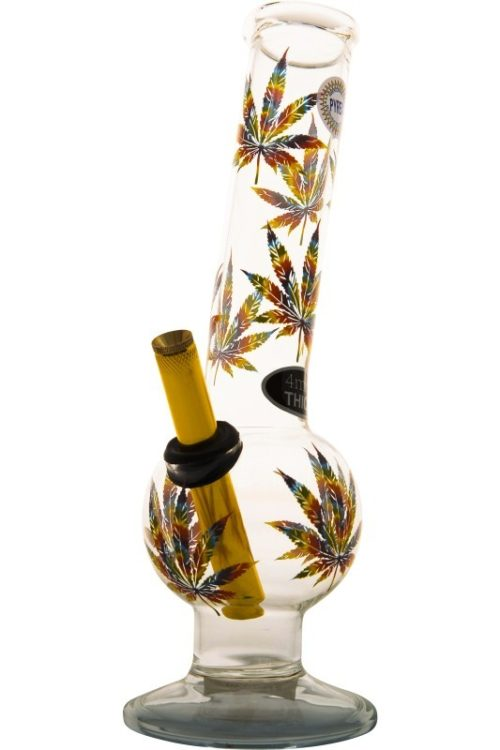 Medium Bent Bubble With Coloured Weed Print-Bong-Trio-Blue016-Cloudy Choices